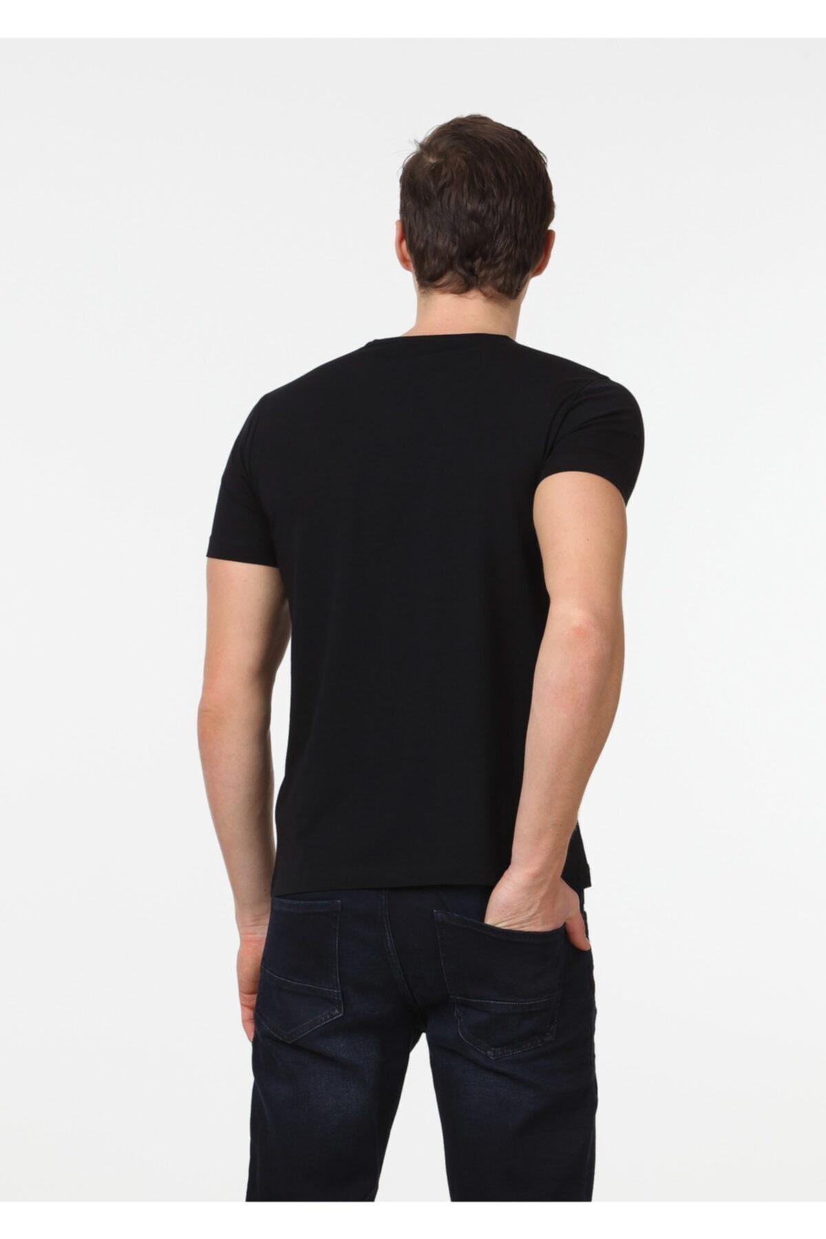 KUPA BUTİK Erkek Siyah Bisiklet Yaka T-shirt
