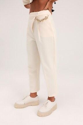 Quzu Kadın Ekru Yüksel Bel Pantolon 2