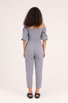 Quzu Kadın Gri Zincir Aksesuarlı Yüksel Bel Pantolon 4