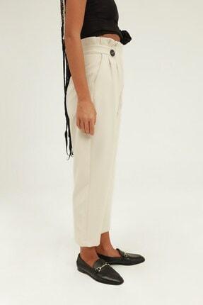 Quzu Kadın Düğme Aksesuarlı Yüksek Bel Pantolon Taş 2