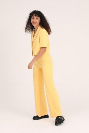 Quzu Kadın Sarı Bol Paça Kumaş Pantolon 1