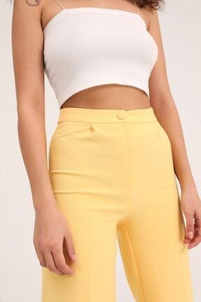 Quzu Kadın Sarı Bol Paça Kumaş Pantolon 3