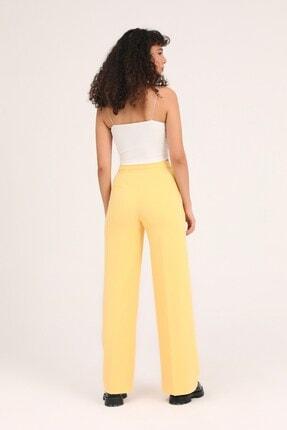 Quzu Kadın Sarı Bol Paça Kumaş Pantolon 4