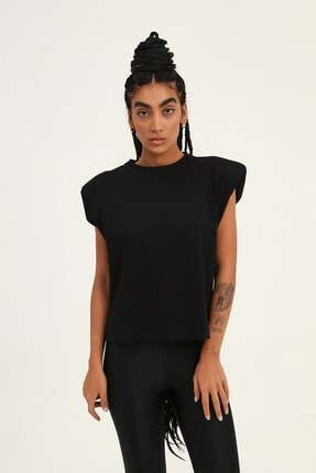 Quzu Kadın Siyah Vatkalı Kolsuz Basic Tişört 0