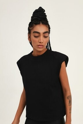Quzu Kadın Siyah Vatkalı Kolsuz Basic Tişört 2