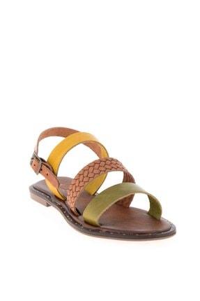 Bambi Yeşil/taba/sarı Kadın Sandalet L0685082603 2