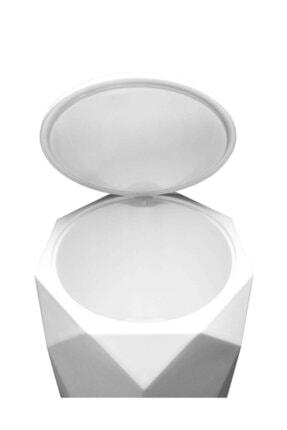Elif Geo 2'li Banyo Seti (Plastik 5 lt Çöp Kovası Ve Tuvalet Fırçası Taş Rengi) 2
