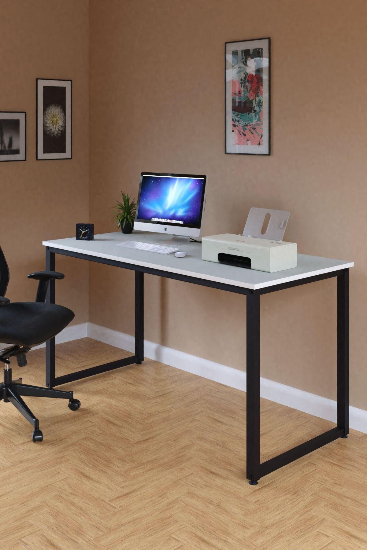 Çalışma Masası Bilgisayar Masası Ofis Masası 60x140 cm Beyaz
