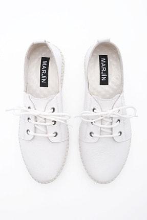 Marjin Kadın Hakiki Deri Comfort Ayakkabı Resabeyaz 4