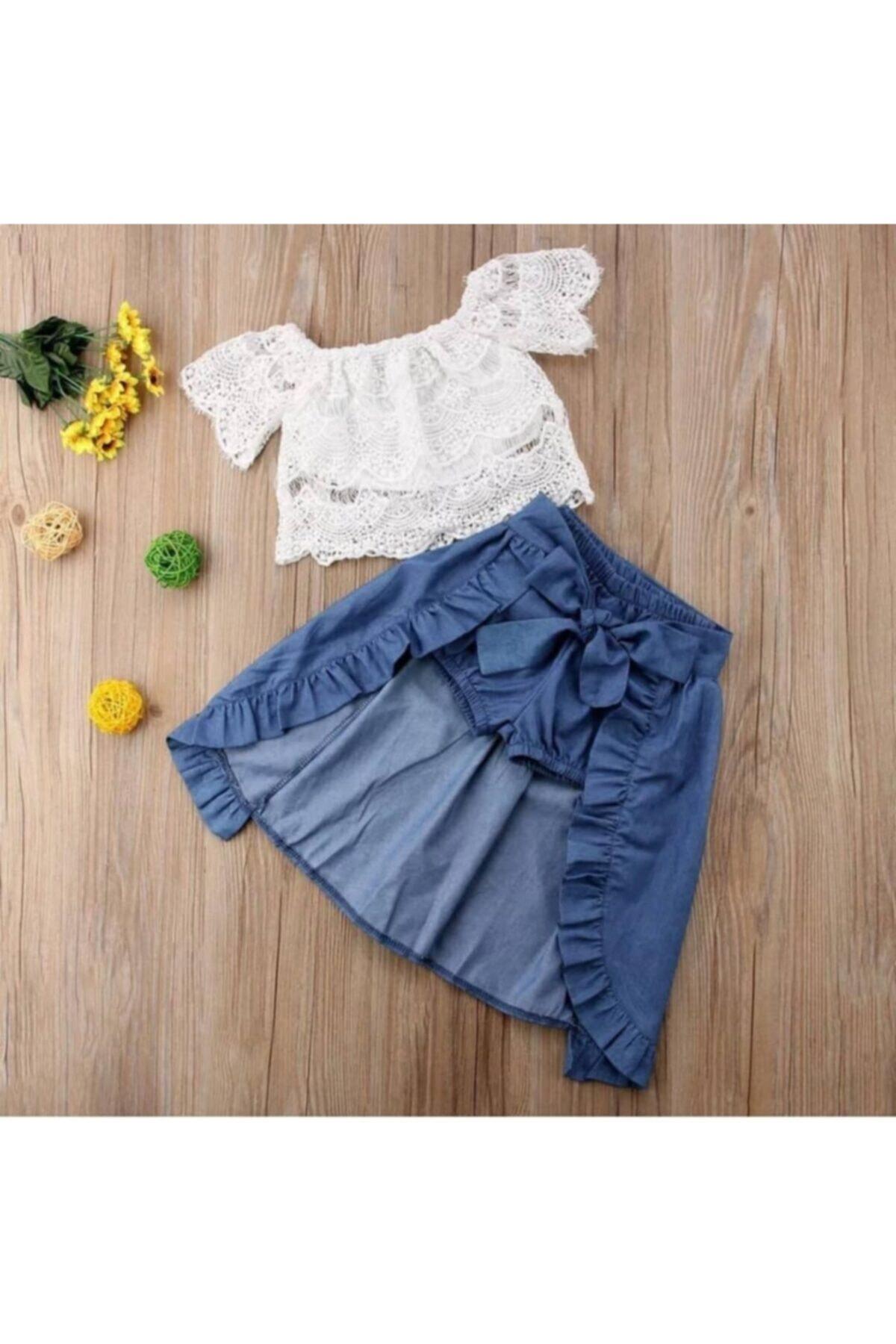 Kız Çocuk Beyaz Üstü Dantel Bluz Ve Kot Etekli Takım