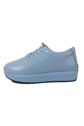 Mavi Hakiki Deri Tam Ortopedik Günlük Lastik Bağcıklı Spor Ayakkabı TDODA-1