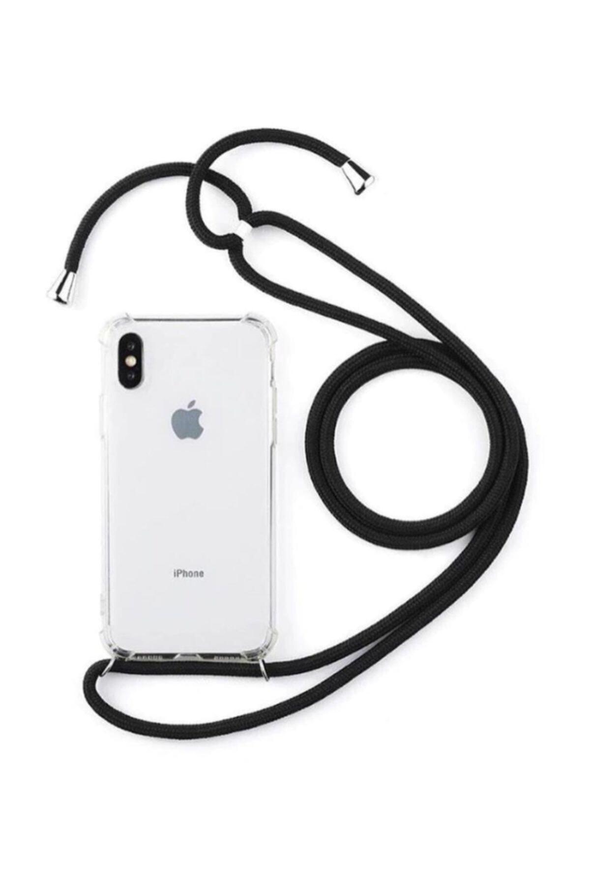 Apple Iphone 6/6s Şeffaf Boyun Askılı Siyah Kılıf