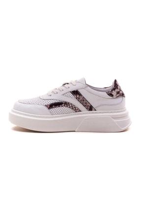 GRADA Kadın Beyaz  Hakiki Deri Yüksek Taban Bağcıklı Sneaker Ayakkabı 2