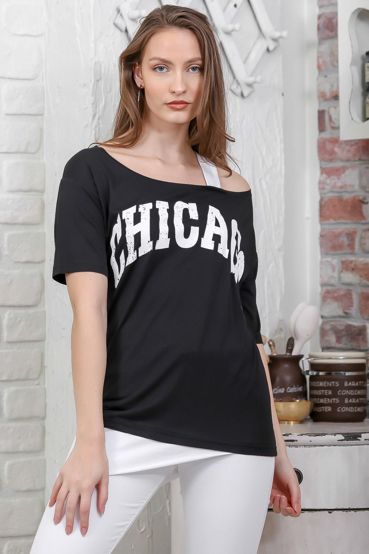 Chiccy Kadın Siyah Chıcago Baskılı Tek Omuz Askılı Etek Ucu Bloklu T-Shirt M10010300TS98274 1