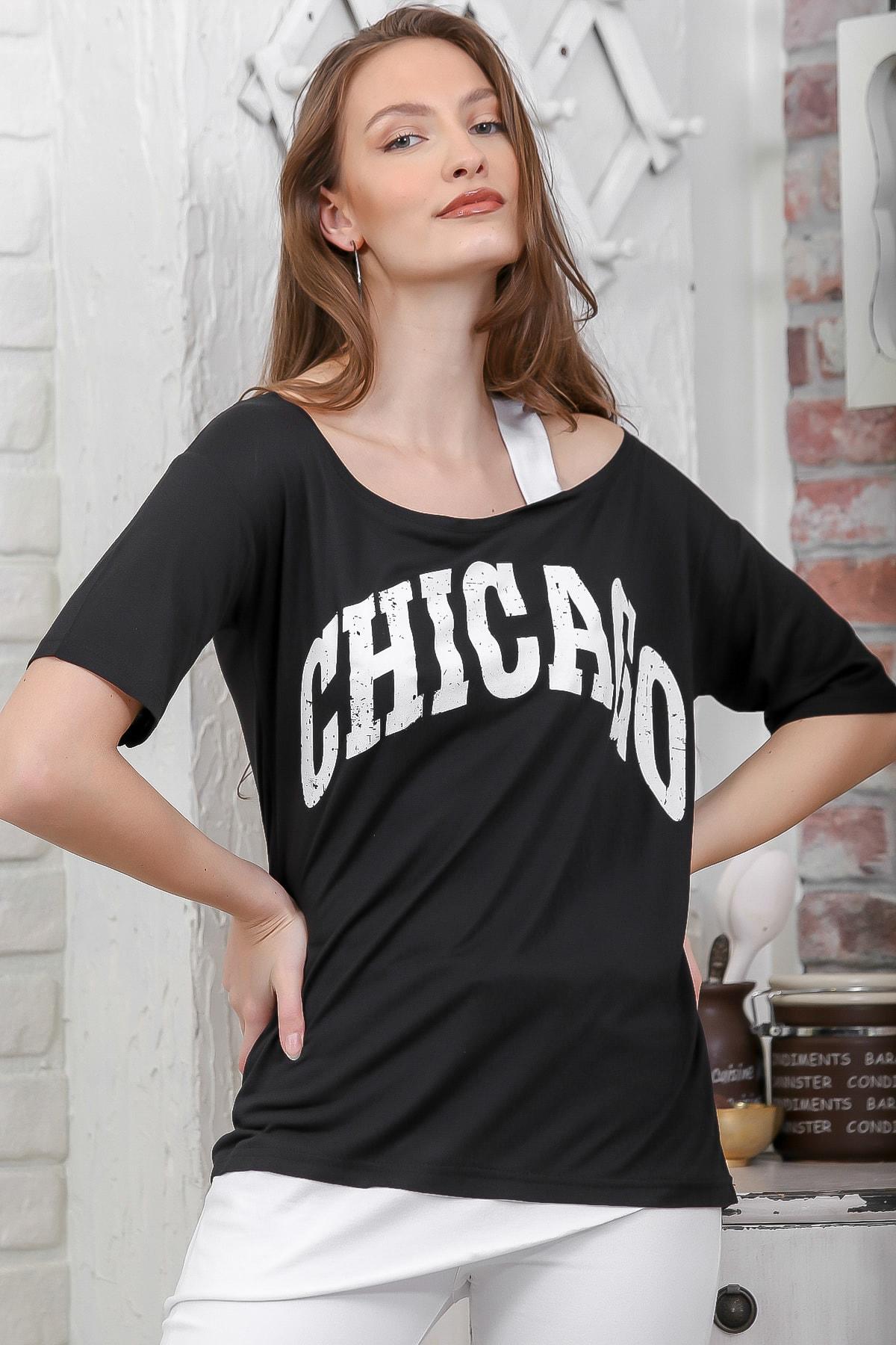 Chiccy Kadın Siyah Chıcago Baskılı Tek Omuz Askılı Etek Ucu Bloklu T-Shirt M10010300TS98274 2