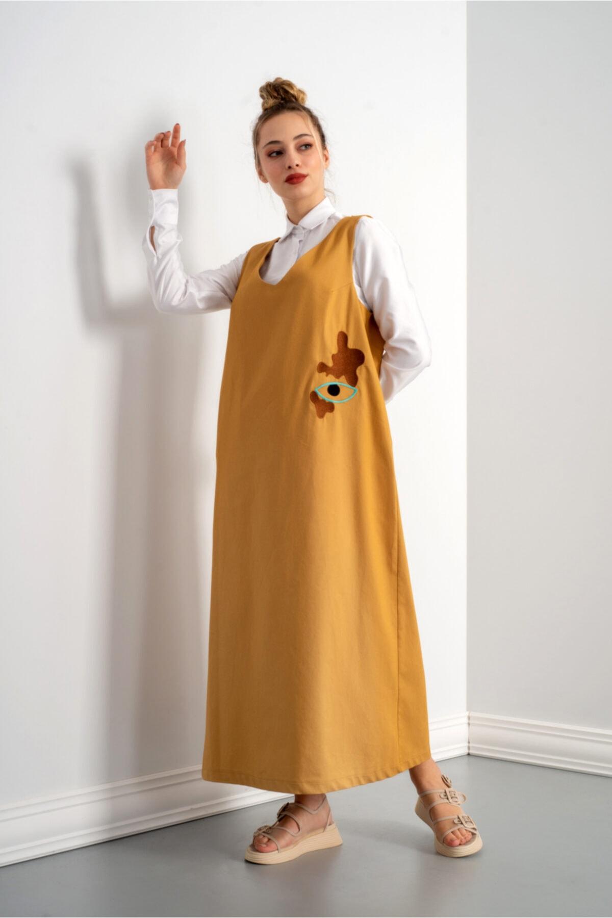 Kadın Hardal Uzun Elbise