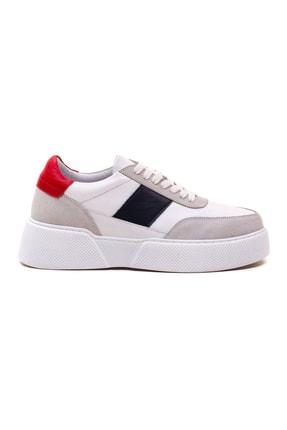 GRADA Kadın Beyaz Hakiki Deri Tommy Bağcıklı Sneaker Ayakkabı 1