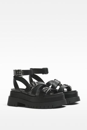 Bershka Kadın Siyah Tokalı Platform Sandalet 0