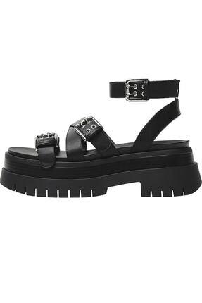 Bershka Kadın Siyah Tokalı Platform Sandalet 3