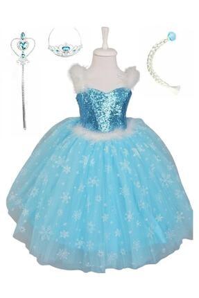 BAL BEBE Kız Çocuk Mavi Askılı Tarlatanlı Taç Asa Elsa Elbise Frozen 0