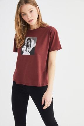 Picture of Açık Kahverengi Baskılı Semifitted Örme T-Shirt TWOSS21TS3571