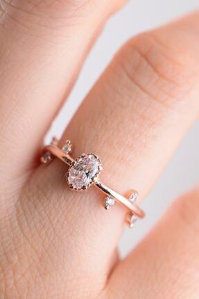 MELODİ GÜMÜŞ 14k Rose Gold Izlanda Evlilik Yüzüğü Ayarlanabilir Ölçü 1