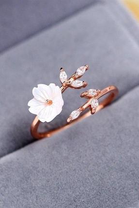 MELODİ GÜMÜŞ Kadın Beyaz  14k Rose Altın Kaplama Manolya Çiçeği Ayarlanabilir Yüzük 0