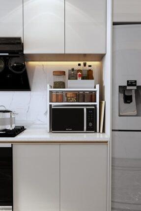 Bayz Tasarım Mikrodalga Fırın Standı Mutfak Tezgah Üstü Raf Dolap Düzenleyici Organizatör Toplayıcı 1