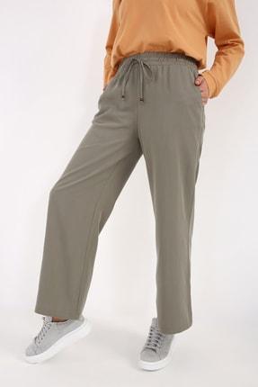 Picture of Açık Yeşil Bel Lastikli Bol Paça Tensel Pantolon
