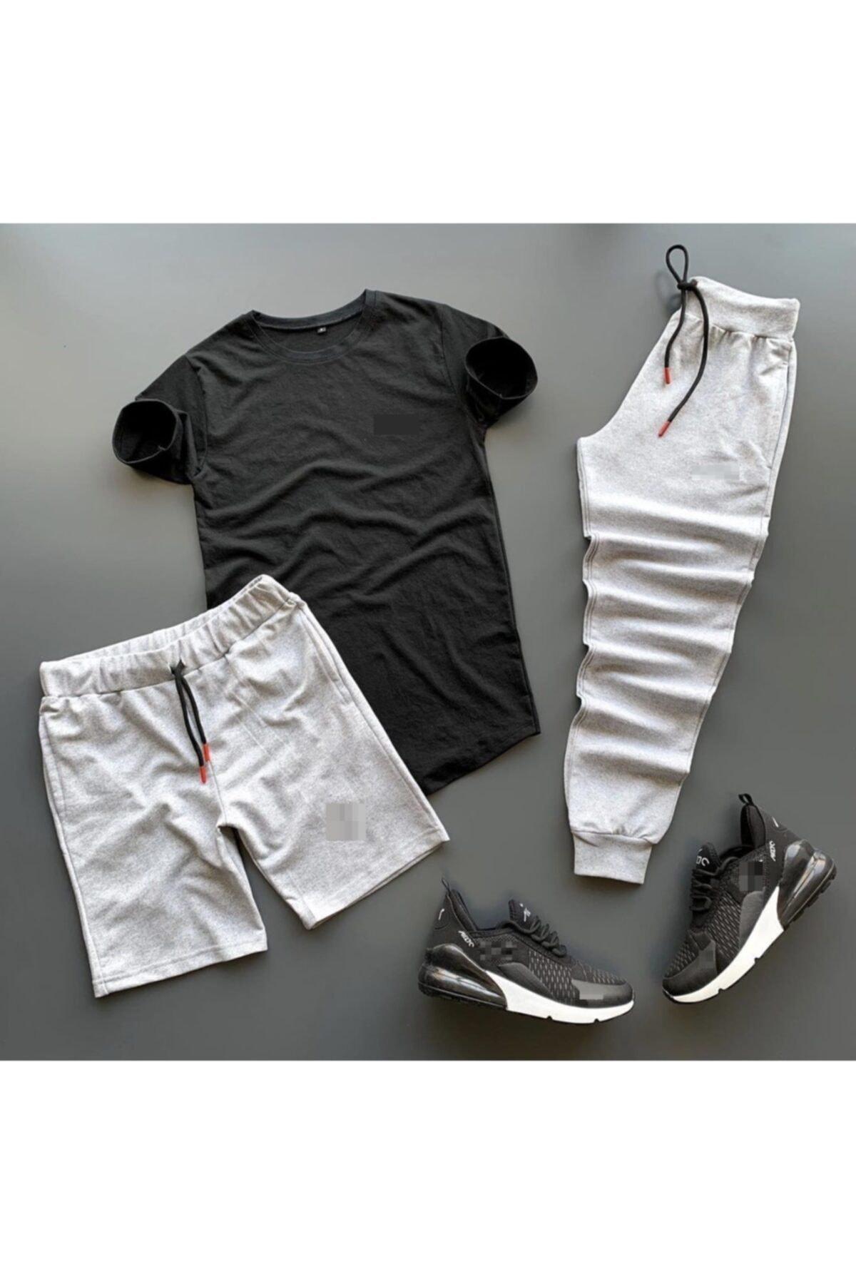 Unisex Gri Siyah Pamuklu Eşofman Şort Tshirt Takımı 3lü