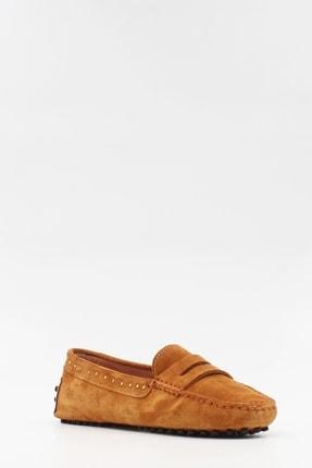 West To West Kadın Taba Süet Loafer Ayakkabı 1