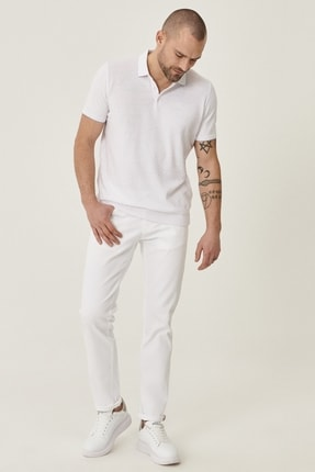 Altınyıldız Classics Erkek Beyaz 360 Derece Her Yöne Esneyen Rahat Slim Fit Pantolon 0
