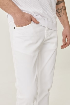 Altınyıldız Classics Erkek Beyaz 360 Derece Her Yöne Esneyen Rahat Slim Fit Pantolon 4