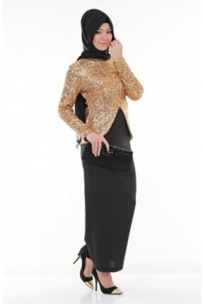 Nidya Moda Kadın Kahverengi Tesettür Dore Peplumlu Abiye Tunik 2