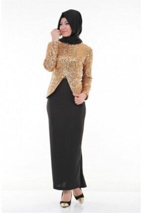 Nidya Moda Kadın Kahverengi Tesettür Dore Peplumlu Abiye Tunik 3