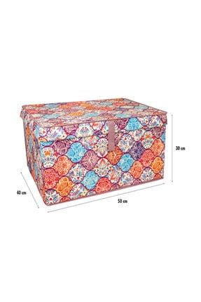 Lumier 3 Adet Maxi Kapaklı Kutu Hurç Eşya Yastık Kıyafet Saklama Kutu Seti 50x40x30 Cm 1