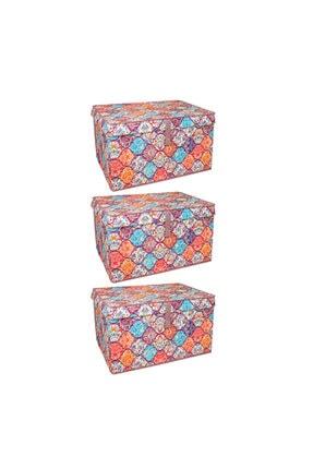Lumier 3 Adet Maxi Kapaklı Kutu Hurç Eşya Yastık Kıyafet Saklama Kutu Seti 50x40x30 Cm 2