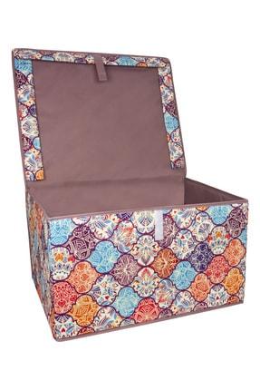 Lumier 3 Adet Maxi Kapaklı Kutu Hurç Eşya Yastık Kıyafet Saklama Kutu Seti 50x40x30 Cm 3