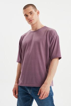 TRENDYOL MAN Açık Mor Basic Erkek Bisiklet Yaka Oversize Kısa Kollu T-Shirt TMNSS21TS0811 0