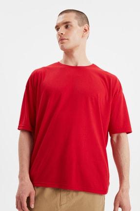 TRENDYOL MAN Kırmızı Basic Erkek Bisiklet Yaka Oversize Kısa Kollu T-Shirt TMNSS21TS0811 1