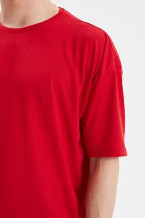 TRENDYOL MAN Kırmızı Basic Erkek Bisiklet Yaka Oversize Kısa Kollu T-Shirt TMNSS21TS0811 3
