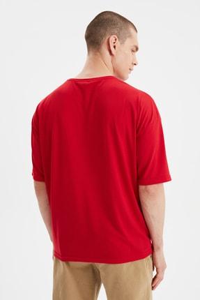 TRENDYOL MAN Kırmızı Basic Erkek Bisiklet Yaka Oversize Kısa Kollu T-Shirt TMNSS21TS0811 4