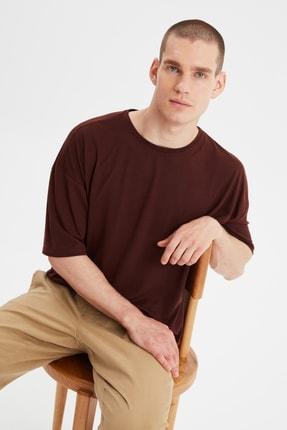 TRENDYOL MAN Kahverengi Basic Erkek Bisiklet Yaka Oversize Kısa Kollu T-Shirt TMNSS21TS0811 2