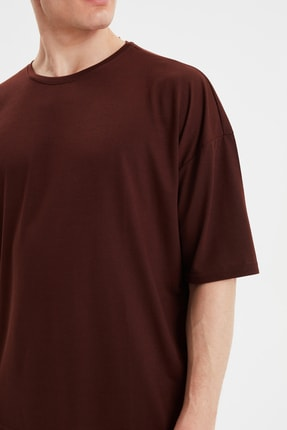 TRENDYOL MAN Kahverengi Basic Erkek Bisiklet Yaka Oversize Kısa Kollu T-Shirt TMNSS21TS0811 3