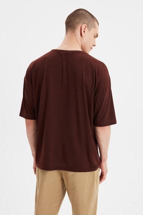 TRENDYOL MAN Kahverengi Basic Erkek Bisiklet Yaka Oversize Kısa Kollu T-Shirt TMNSS21TS0811 4