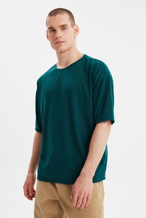 TRENDYOL MAN Zümrüt Yeşili Basic Erkek Bisiklet Yaka Oversize Kısa Kollu T-Shirt TMNSS21TS0811 1