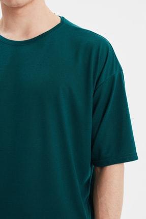 TRENDYOL MAN Zümrüt Yeşili Basic Erkek Bisiklet Yaka Oversize Kısa Kollu T-Shirt TMNSS21TS0811 2