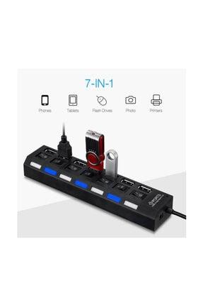 WOZLO 7 Port Usb Hub Çoklayıcı Çoğaltıcı On / Off Düğmeli Işıklı 4