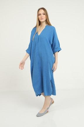 Kadın Italyan Keten Indigo Cepli Yırtmaç Detaylı Yarım Kol V-yaka Elbise 4510485