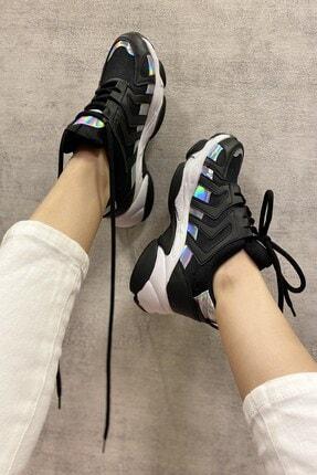 DİVOLYA Kadın Siyah Hologramlı Kalın Taban Bağcıklı Spor Ayakkabı 4
